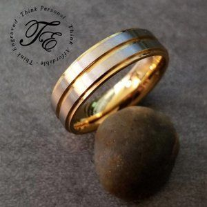Men's Brushed Steel Gold IP Promise Wedding Ring